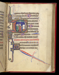 Three Clerics Before an Altar With the Holy Spirit, in a Book of Hours